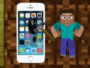 Minecraft Steve Destroy Iphone